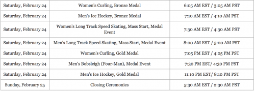 2018 olympic games schedule